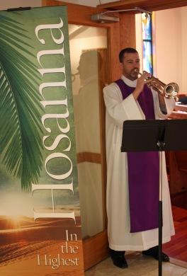Palm Sunday 2016 Calvin trumpet 2